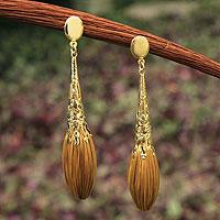 Gold plated golden grass dangle earrings, 'Promises' - Handcrafted Golden Grass and Gold Plate Dangle Earrings