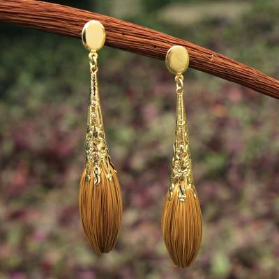 Gold plated golden grass dangle earrings, 'Promises' - Handcrafted Golden Grass and Gold Plate Dangle Earrings