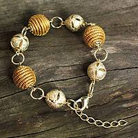 Golden grass gold plate link bracelet, 'Golden Glam' - Handcrafted Golden Grass and Gold Plate Link Bracelet