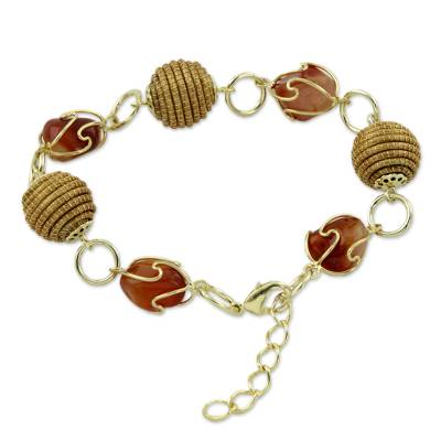 Hand Crafted Golden Grass and Agate Link Bracelet