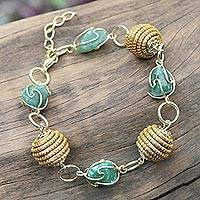 Golden grass and agate link bracelet, 'All Aglow in Green' - Hand Crafted Green Agate and Golden Grass Link Bracelet