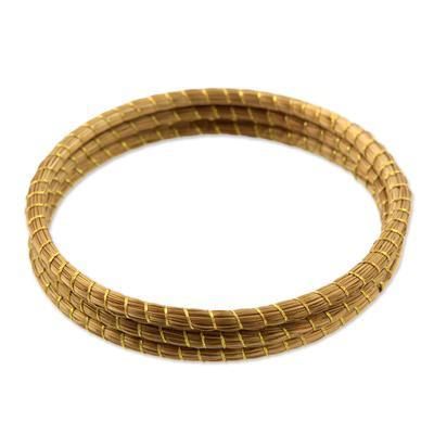 Golden grass bangle bracelets, 'Natural Aura' (set of 3) - Handcrafted Golden Grass Bangle Bracelets (Set of 3)