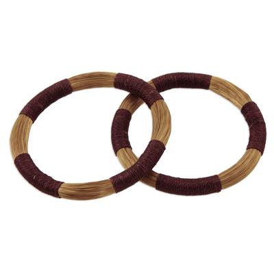 Pair of Artisan Crafted Golden Grass Bangle Bracelets