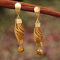 Gold plated golden grass dangle earrings, 'Serpentine Union' - Fair Trade Golden Grass Handmade Earrings with Gold Accents