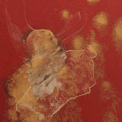 Brazilian Abstract Painting in Red and Gold