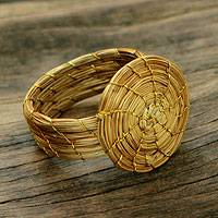 Golden grass cocktail ring, 'Sublime Nature' - Fair Trade Golden Grass Hand Crafted Cocktail Ring