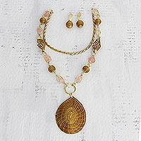 Golden grass and rose quartz flower jewelry set,