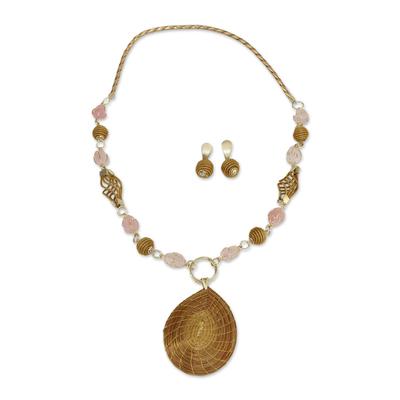 Fair Trade Natural Golden Grass and Rose Quartz Jewelry Set