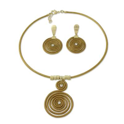 Handcrafted Golden Grass Jewelry Set with Gold Plated Accent