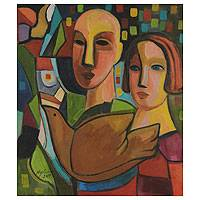 'Couple II' - Married Couple with Dove Cubist Painting from Brazil