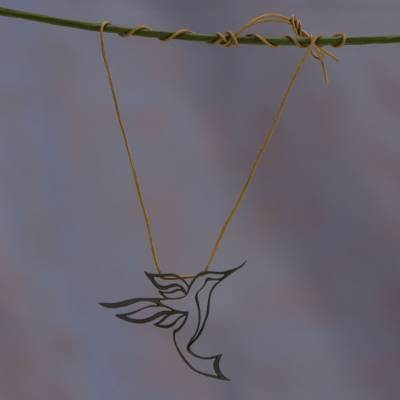 Sterling silver and leather pendant necklace, 'Hummingbird' - Handmade Oxidized Sterilng Silver Hummingbird Necklace