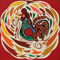 'Red Rooster' - Bird Theme Colorful Naif Painting from Brazil (Stretched)