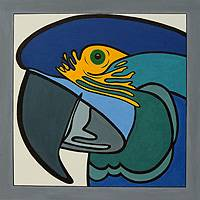 'Blue Macaw' - Stretched Original Cubist Blue Bird Painting from Brazil