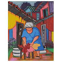 'Laundry Lady' - Colorful Naif Brazilian Portrait of Woman in Favela