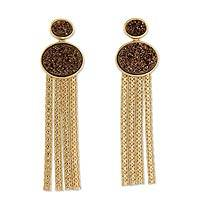 Brazilian drusy waterfall earrings, 'Bronze Cascade' - 18k Gold Plated Drusy Waterfall Earrings from Brazil