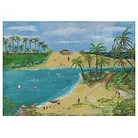 'Vacations on the Beach' - Stretched Brazilian Fine Art Naif Beach Scene Painting