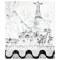 'Graffiti of Rio' - Brazilian Fine Art Naif Painting in Black and White