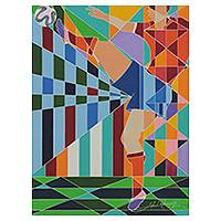 'Defender' (2014) - Soccer Theme Geometric Abstraction Painting from Brazil