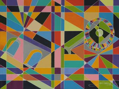 'Bohemia and Happiness' (2014) - Geometric Abstraction Rio de Janeiro Theme Painting