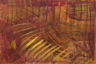 'Rays of Light' - Yellow Light Vibrations Signed Large Painting from Brazil