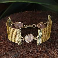 Golden grass and rose quartz wristband bracelet, 'Eco Guard' - Golden Grass and Rose Quartz Handcrafted Wristband Bracelet