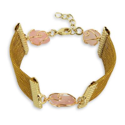 Golden Grass and Rose Quartz Handcrafted Wristband Bracelet