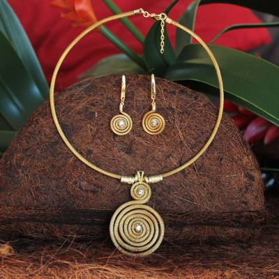 Gold plated golden grass jewelry set, Jalapão Evolution II