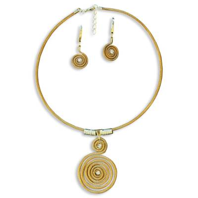 Handcrafted Golden Grass Necklace and Earrings Jewelry Set