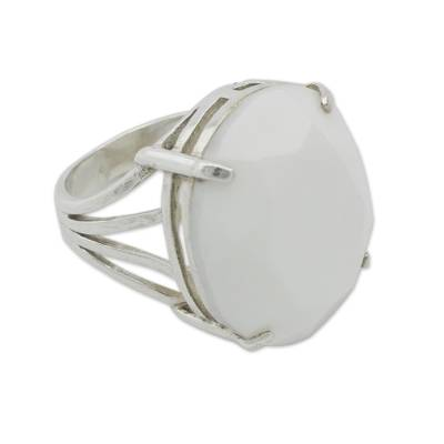 Artisan Crafted Faceted White Agate Cocktail Ring