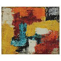 'Abstract I - Scraps of Color' - Abstract Patchwork Painting in Tropical Tones