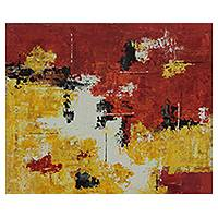 'Abstract II - Vibration' - Modern Brazilian Abstract Painting in Red and Yellow