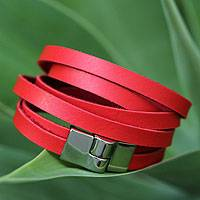 Wrap bracelet, 'Red Duality' - Brazilian Wrap Bracelet in Red Faux Leather Magnetic Clasp