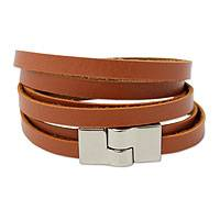Wrap bracelet, 'Brown Duality' - Brazilian Wrap Bracelet in Faux Leather with Magnetic Clasp
