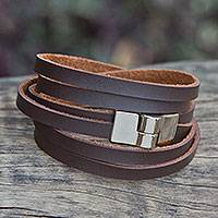 Wrap bracelet, 'Sassy Coffee' - Hand Made Wrap Bracelet in Brown Faux Leather