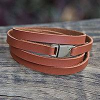 Wrap bracelet, 'Spinning Tan' - Brown Faux Leather Wrap Bracelet Crafted by Hand in Brazil