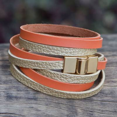 Gold accent wrap bracelet, 'Golden Orange Parallels' - Faux Leather Wrap Bracelet with Gold Plated Magnetic Clasp