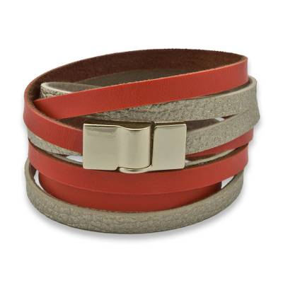 Faux Leather Wrap Bracelet with Gold Plated Magnetic Clasp