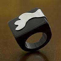 Sterling silver accent agate cocktail ring, 'Midnight Surf' - Artisan Crafted Sterling Silver and Black Agate Ring