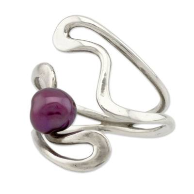 Artisan Crafted Burgundy Pearl and Sterling Silver Ring