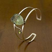 Prasiolite and peridot cuff bracelet, 'Cool Majesty' - Brazilian Prasiolite and Peridot Hand Crafted Cuff Bracelet
