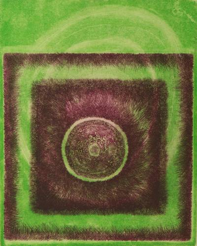 'Magenta Sun on Green' - Signed Original Brazilian Abstract Green and Brown Etching