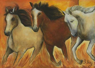 'Sun Behind Horses' - Brazilian Wild Horse Painting in Warm Colors
