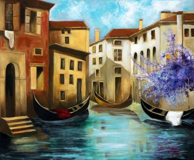 'Venice V' - Original Signed Painting of Venice with Houses and Gondolas