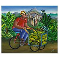 'Fruit Vendor' (2005) - Signed Brazilian Naif Style Original Oil Painting