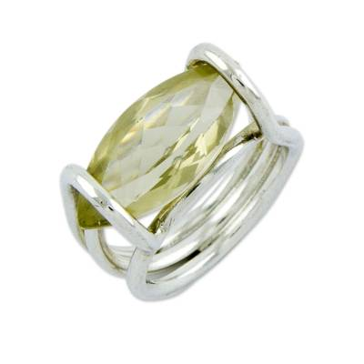 4 Cts Lemon Quartz on Sterling Silver Cocktail Ring