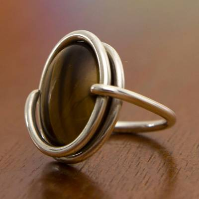 Tiger's eye cocktail ring, 'Swirling Abundance' - Tiger's Eye and Sterling Silver Cocktail Ring from Brazil