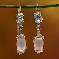 Aquamarine and rose quartz dangle earrings, 'Wild Harmony' - Aquamarine and Rose Quartz Sterling Silver Hook Earrings