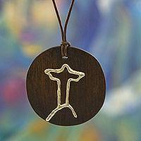 Sterling silver accent Pinewood pendant necklace, 'Christ the Redeemer' - Cristo Redentor Silver Accent Wood and Leather Necklace