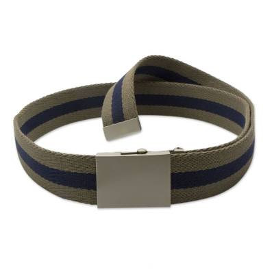 Cotton Canvas Belt for Men with Nickel Plated Buckle
