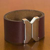 Leather wristband bracelet, 'Amazon Wine' - Wine Red Leather Wristband Bracelet with Magnetic Clasp